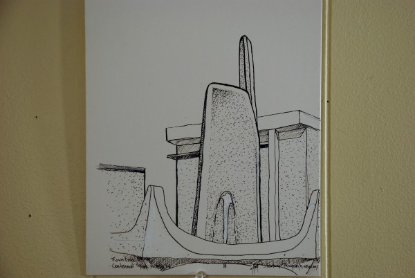 Pen & Ink Confederation Square Fountain Victoria BC by HB Barry Strasbourg-Thompson BFA