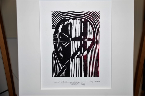 Linocut V.E. print, 2/20, Cruciform Variation 3.0  by HB Barry Strasbourg-Thompson BFA
