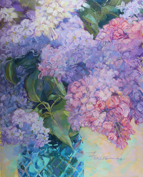 Lilacs in a Blue Vase