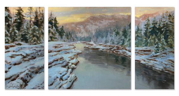 Flathead River Winter by James L Johnson