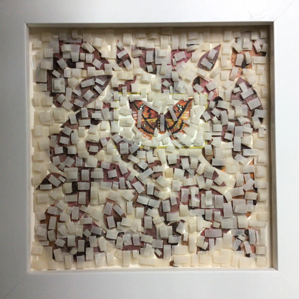 Butterfly Stamp Behind Cut Paper by Richard B. Aakre