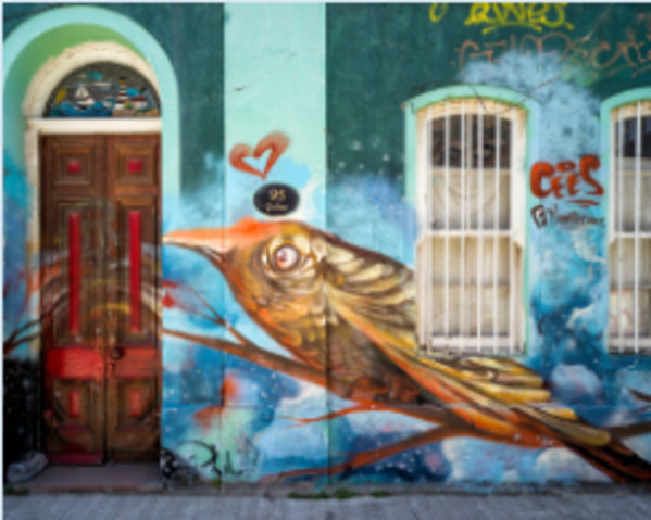 Mural in Valparaiso, Chile by Larry Hanelin