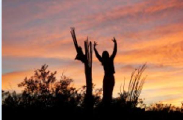 Saguaro Salutation, Tumamoc Hill by Niccole Celeste Radhe