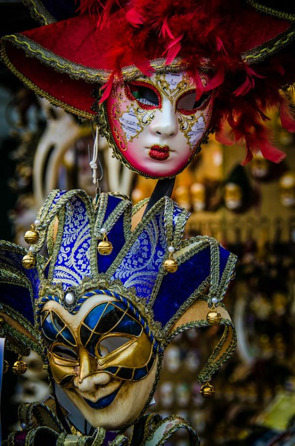 Carnival Masks, Venice, Italy by Ed Warner