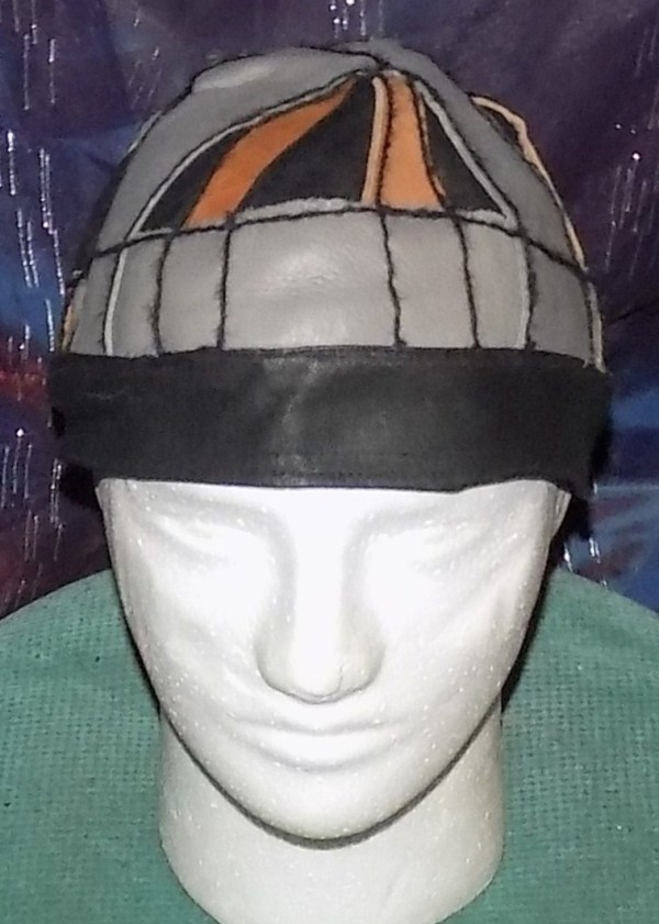 unique Leather Cap in gray, brown & black by Annie Rich