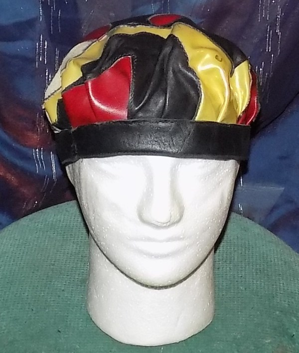 """Leather Cap """"just pieces"""" in red, beige, green & black by Annie Rich"""
