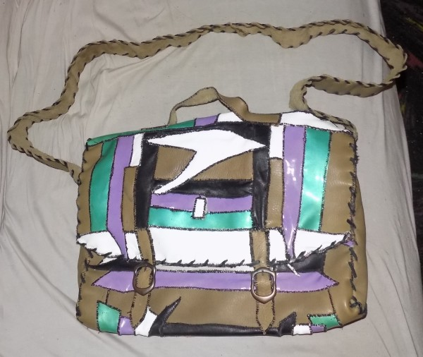 leather Laptopbag with purple and green by Annie Rich