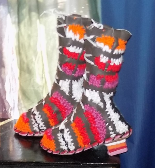 Leather-Crochet Mix Booties with orange & pink by Annie Rich