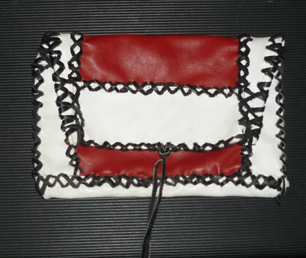 Make-Up Pouch in red, white & black leather by Annie Rich