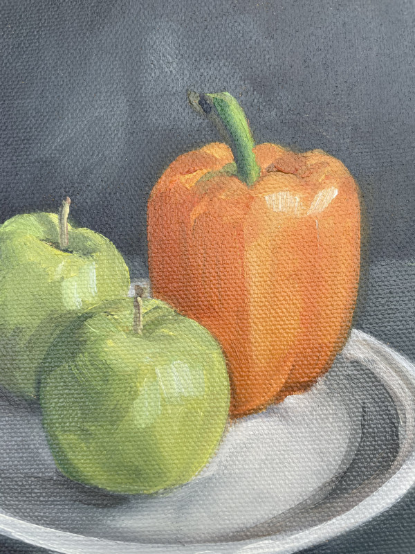 Green Apples with orange pepper by Lauren Ruch
