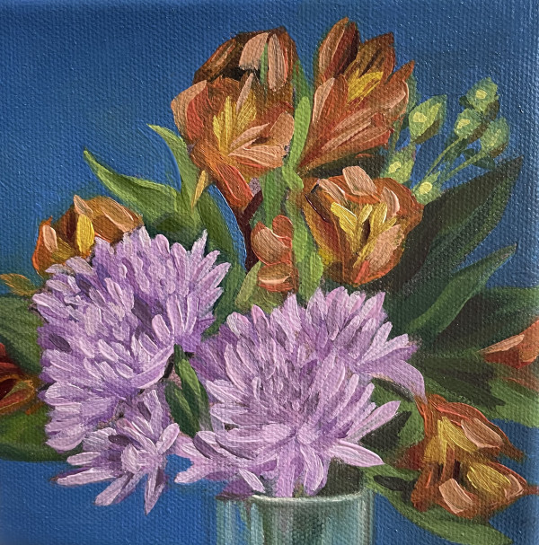 Violet and orange flowers by Lauren Ruch