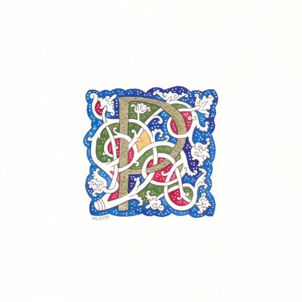 """Initiale """"P"""" vigne blanche (White vine """"P"""" drop cap) by Nancy Cahuzac"""