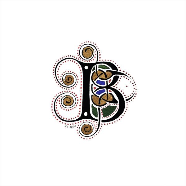 "Initiale ""B"" Livre de Kells (Book of Kells ""B"" drop cap) by Nancy Cahuzac"