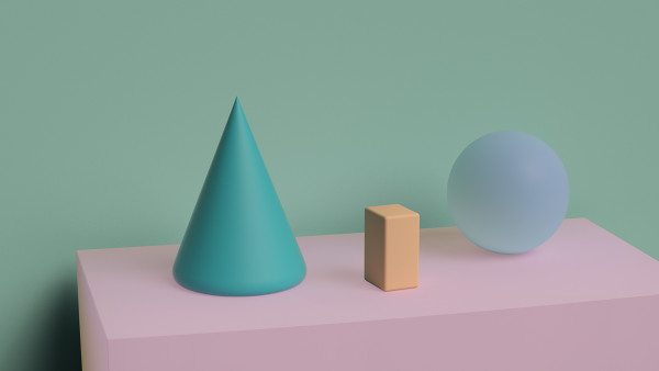Cone, Block, And Sphere by Ronald Davis
