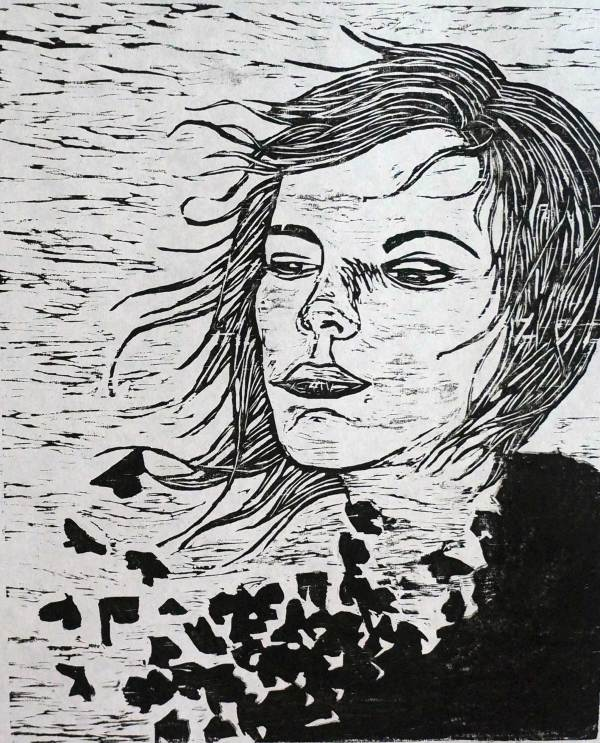 Self Portrait - Woodblock by Angee Montgomery