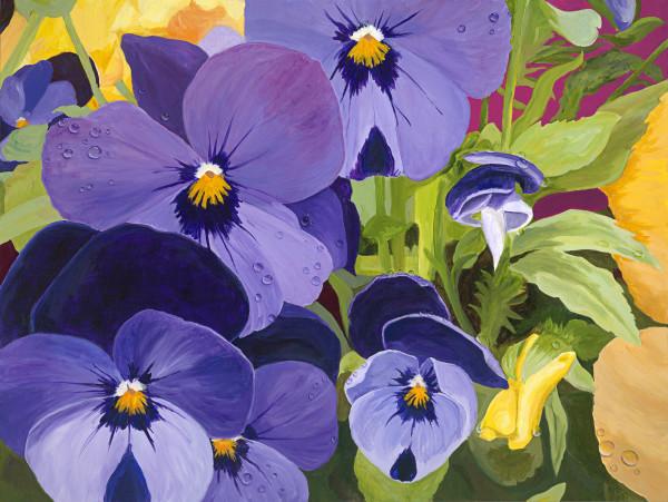 Spring Rain on Violas by Ruth McMillin