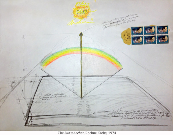 The Sun's Archer, 1974 [Drawing for possible rainbow creating light sculpture.] by Rockne Krebs