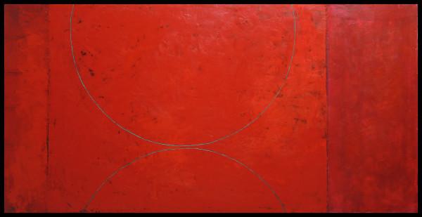 Red Arcs Painting by Graceann Warn