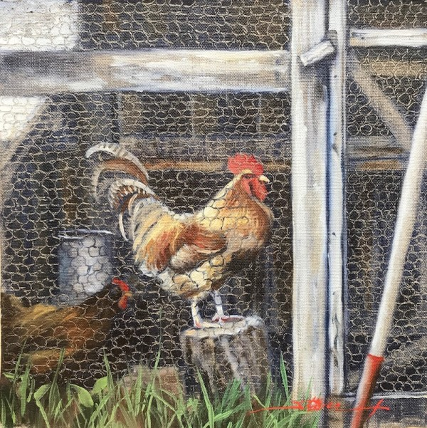 Rooster and Hen by Sharon Rusch Shaver