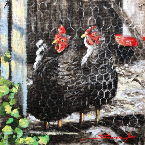 Painting Chickens by Sharon Rusch Shaver