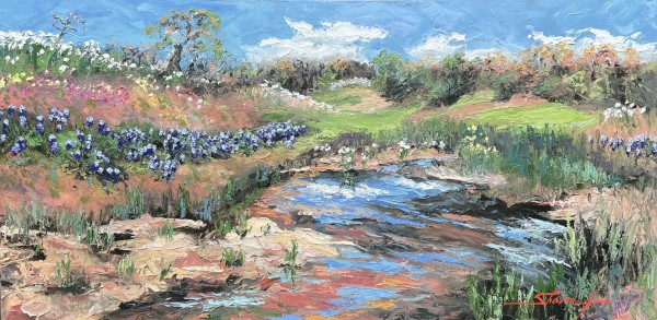 Bluebonnets and White Poppies by Sharon Rusch Shaver