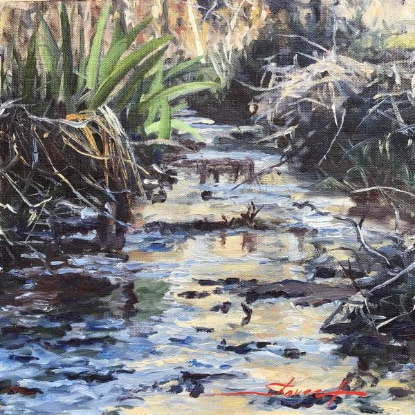 Plein Iris in Creek by Sharon Rusch Shaver
