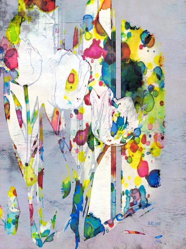 Tulips in Window - Watercolour Sketch by Barbara Storey
