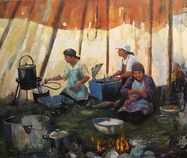 In the elders tent - Dans la tente des ainés by Dominique Normand