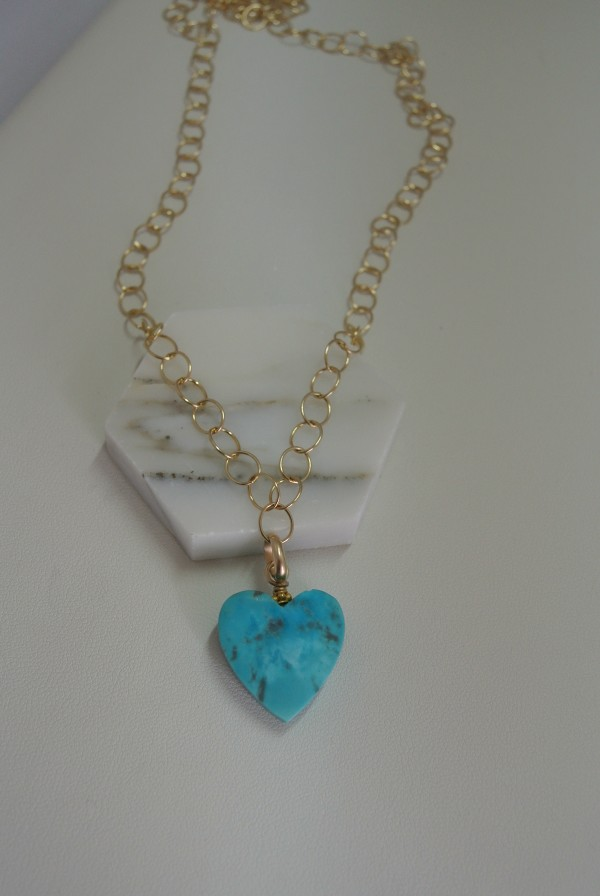 Turquoise Heart Motif Necklace with Gold Vermeil Link Chain by Hollis Bauer