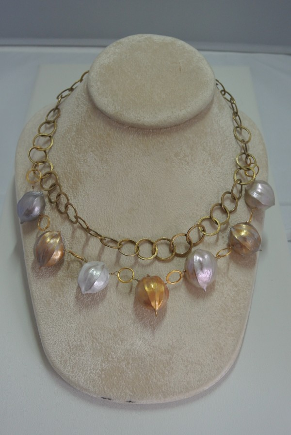 Hickory Nut and Gold Vermeil Necklace with Pearl Clasp by Hollis Bauer