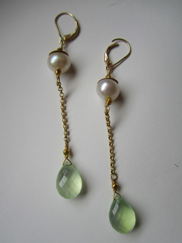 Phrenite Briolette Drop Earrings with CFW Pearl and 18 Ct Gold Hammered Caps by Hollis Bauer