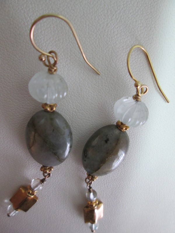 Labradorite and Aquamarine Earrings with Gold Vermeil by Hollis Bauer
