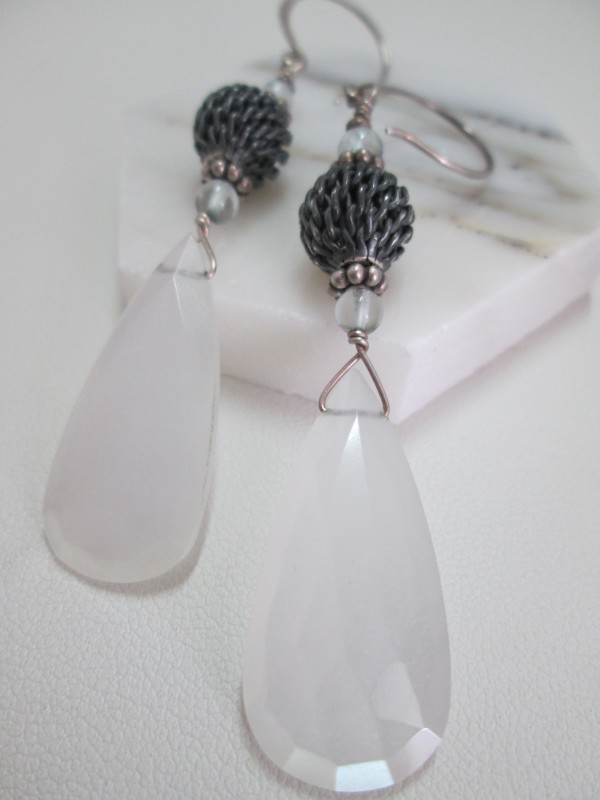 Moonstone and Aquamarine Earrings with Mesh SS Bead by Hollis Bauer