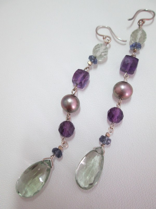 Green and Purple Amethyst Earrings with Iolite Beads and CFW Pearl (Var.1 - Long) by Hollis Bauer