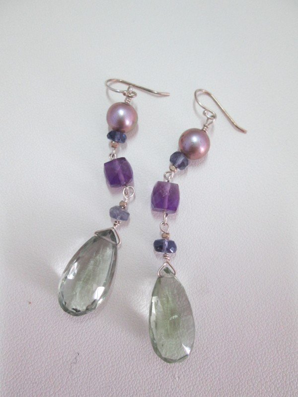 Green and Purple Amethyst Earrings with Iolite Beads and CFW Pearl (Var. 2) by Hollis Bauer