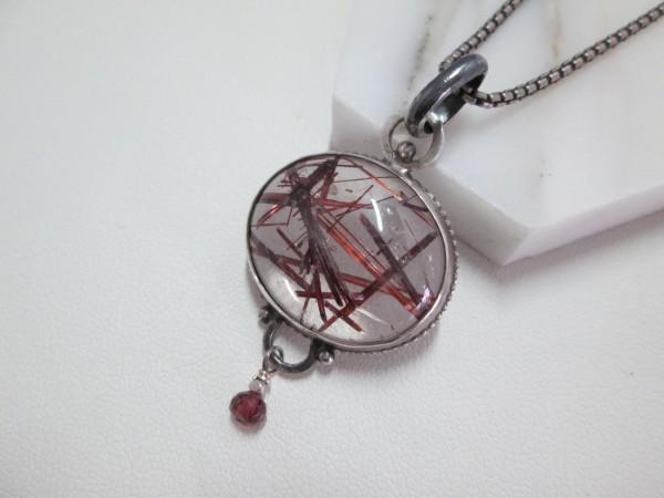 SS Set Rudilated Quartz Necklace with Garnet Bead  by Hollis Bauer