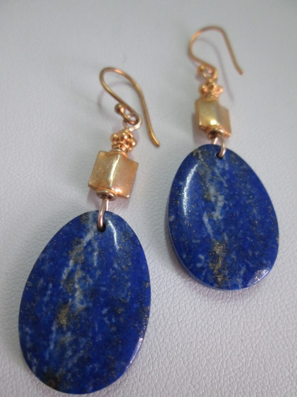 Lapis and Gold Vermeil Earrings by Hollis Bauer