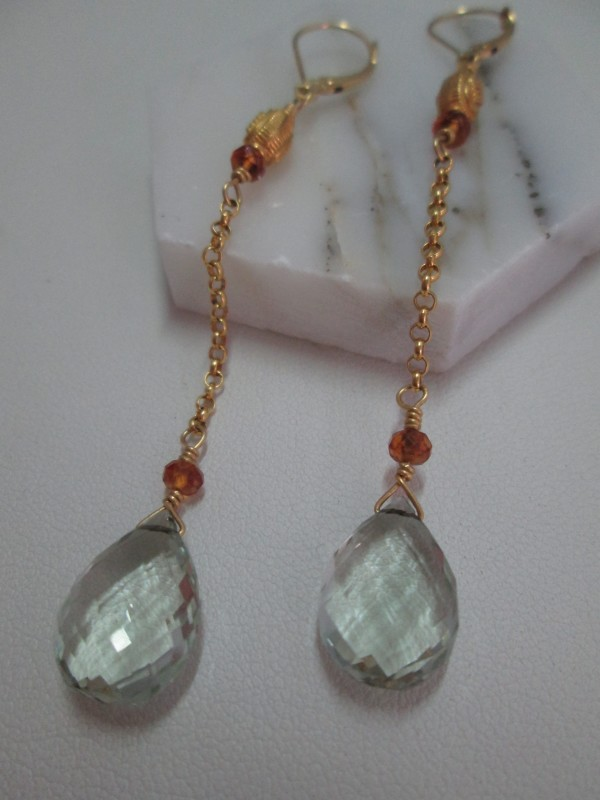 Green Amethyst Briolette Earrings with 18 ct Gold and Garnet Bead by Hollis Bauer