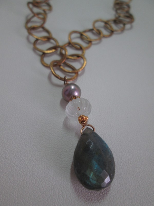 Labradorite Faceted Briolette Drop on Gold Vermeil Link Necklace with Aquamarine by Hollis Bauer