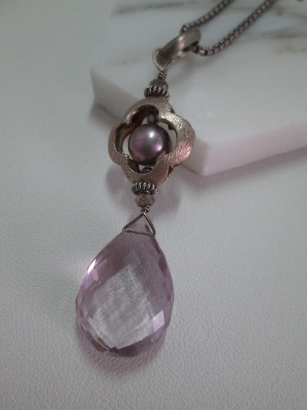 Rose de France Amethyst Briolette Drop Necklace with Quatrefoil Element and CFW Pearl  by Hollis Bauer