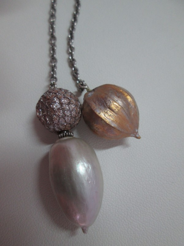 Laquered Hickory, Sycamore and Acorn Lariat Necklace by Hollis Bauer