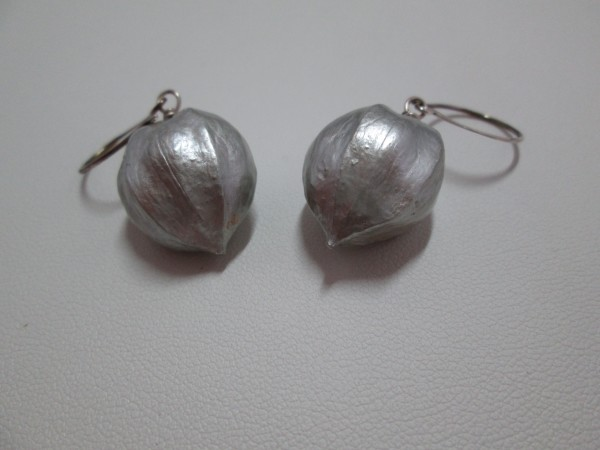 Lacquered Hickory Nut Earrings by Hollis Bauer