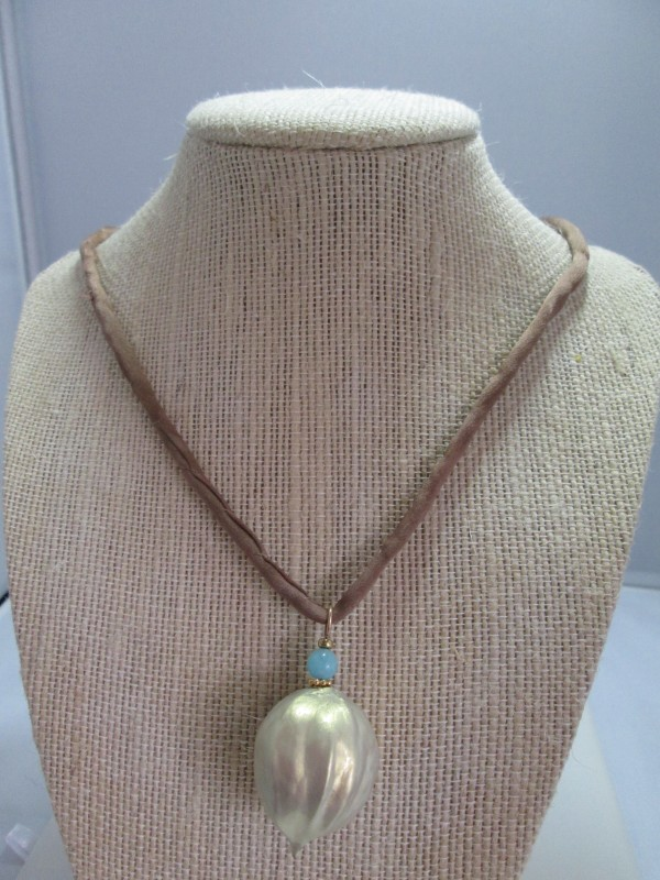 Hickory Nut Necklace with Silk Cord and Metal Clasp by Hollis Bauer