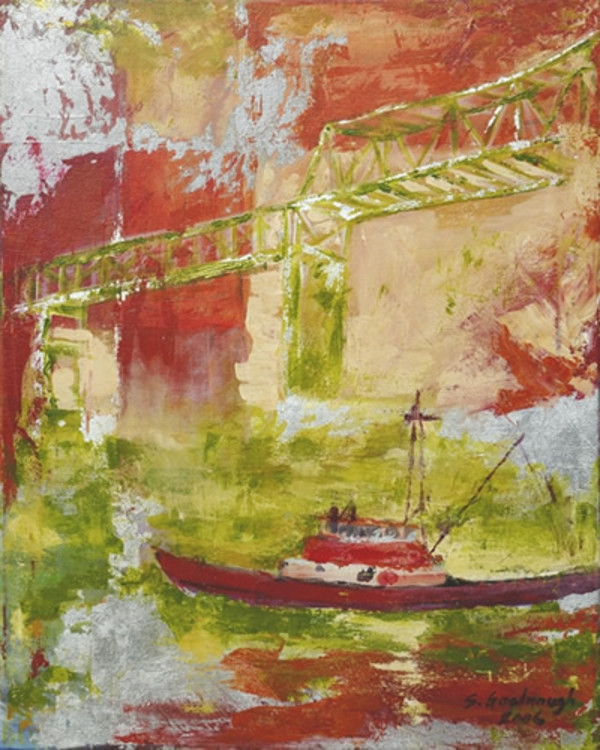 Boat & Bridge, Red Fog by Sarah Goodnough