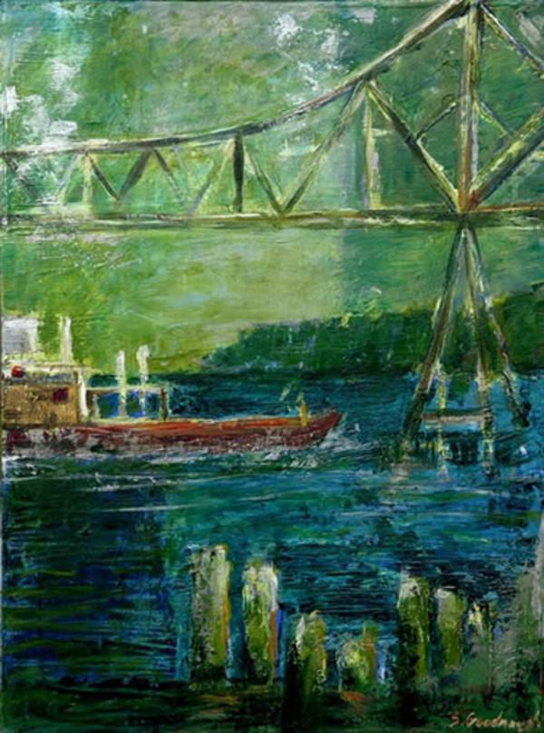 Boat & Bridge, Green Piling by Sarah Goodnough