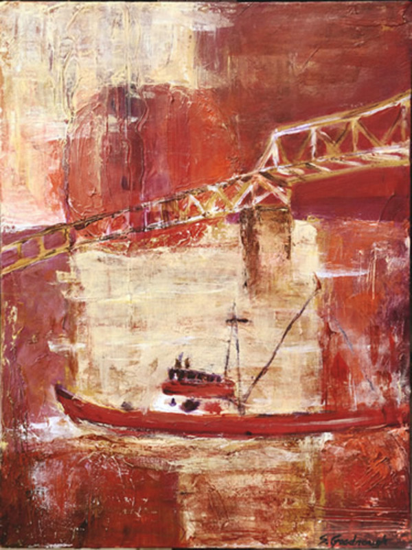 Red Moon Over Boat and Bridge by Sarah Goodnough