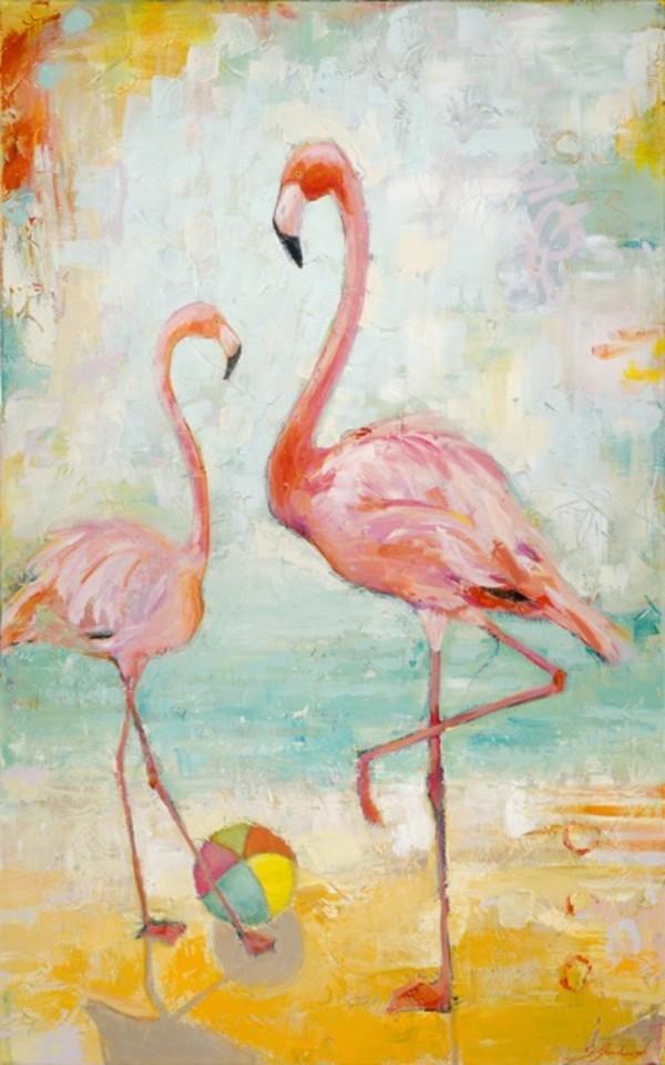 Beachball Flamingos by Sarah Goodnough