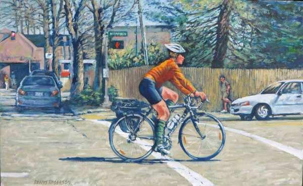 Orange Biker by Dennis Anderson