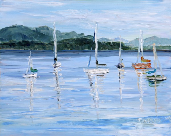 Anchored Sailboats Village Bay by Terrill Welch