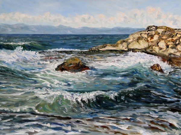 Catching Waves at Georgina Point Mayne Island BC by Terrill Welch